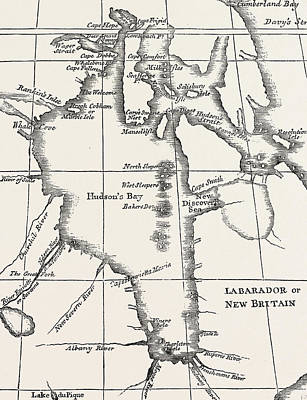 New Britain Drawing - Map Of Hudson Bay by Henry Ellis