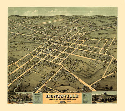 Huntsville Alabama Photograph - Map Of Huntsville 1871 by Andrew Fare