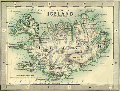 Vintage Map Photograph - Map Of Iceland 1893 by Andrew Fare