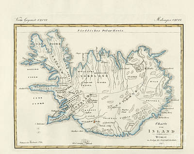Europe Drawing - Map Of Iceland by German School
