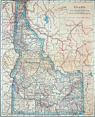 Drawing - Map Of Idaho 1921 by Mountain Dreams