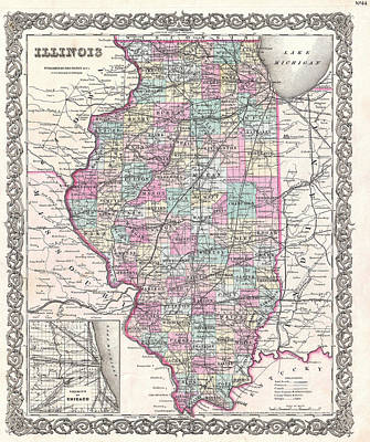 Drawing - Map Of Illinois by Joseph Hutchins Colton