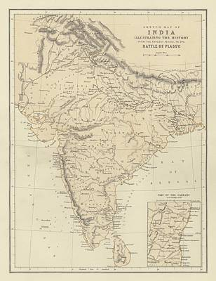 Period Drawing - Map Of India by English School
