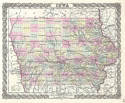 Drawing - Map Of Iowa by Joseph Hutchins Colton