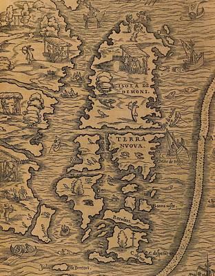Territorial Painting - Map Of Islands Of Terra Nuova And Isola De Demoni by Gian Battista Ramusio