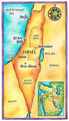 Map Of Israel Art Print by Jennifer Thermes