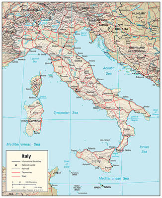 Map Of Italy 2 Art Print