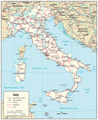 Map Of Italy 3 Art Print