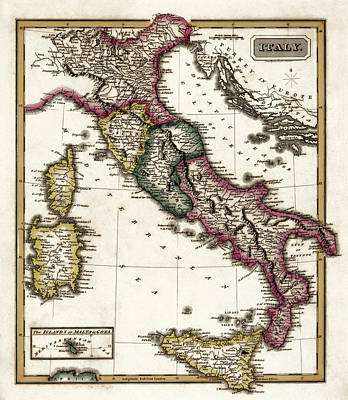 Photograph - Map Of Italy C. 1817 by Daniel Hagerman