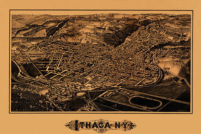 Map Of Ithaca 1882 Print by Andrew Fare