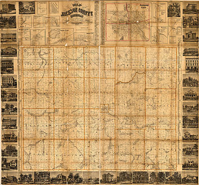 Old Mixed Media - Map Of Jackson County Michigan 1858 by Design Turnpike