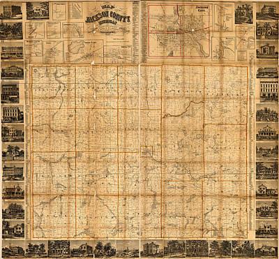 Map Of Jackson County Michigan 1858 Art Print