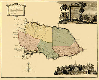 New Years - Map Of Jamaica 1763 by Andrew Fare