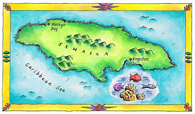 Caribbean Sea Digital Art - Map Of Jamaica by Jennifer Thermes