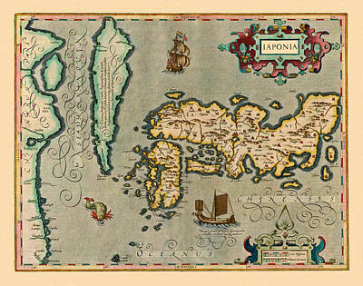 Map Of Japan Photograph - Map Of Japan 1623 by Andrew Fare