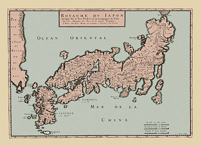 Map Of Japan Photograph - Map Of Japan 1650 by Andrew Fare