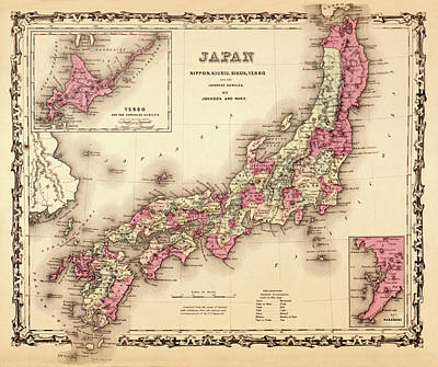 Map Of Japan Photograph - Map Of Japan 1862 by Andrew Fare