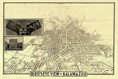 Photograph - Map Of Kalamazoo 1908 by Andrew Fare