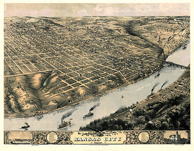 Vintage Map Photograph - Map Of Kansas City 1869 by Andrew Fare