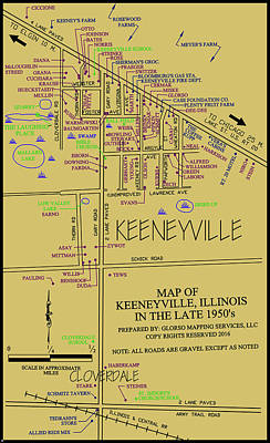 Digital Art - map of Keeneyville by Dean Glorso