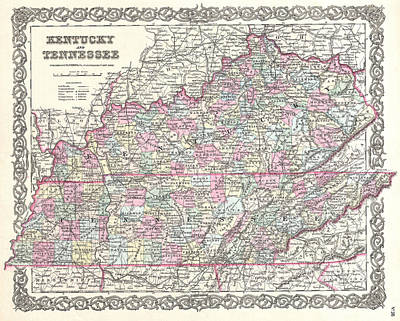 Tennessee Map Drawing - Map Of Kentucky And Tennessee by Joseph Hutchins Colton