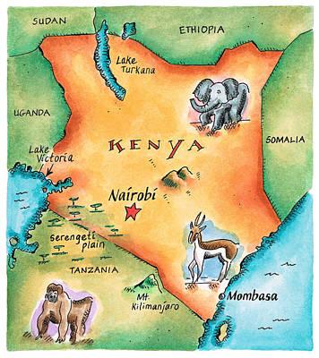 Elephants Digital Art - Map Of Kenya by Jennifer Thermes