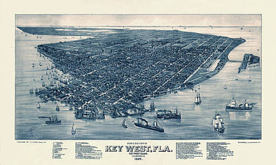 The Champagne Collection - Map Of Key West 1884 by Andrew Fare