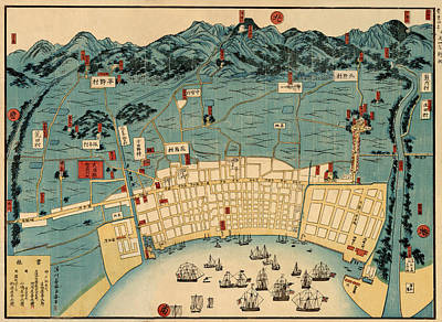 Kobe Photograph - Map Of Kobe 1868 by Andrew Fare
