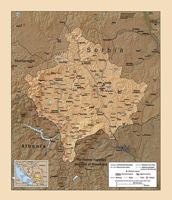 Photograph - Map Of Kosovo 1999 by Andrew Fare