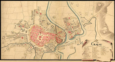 Photograph - Map Of Krakow 1755 by Andrew Fare