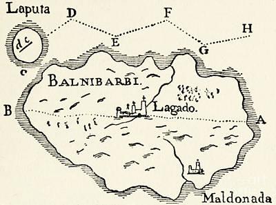Drawing - Map Of Laputa by Arthur Rackham