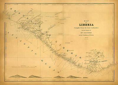 Map Of Liberia 1850 Art Print by Andrew Fare