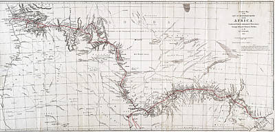 Zambesi River Photograph - Map Of Livingstones Route Across by Wellcome Images