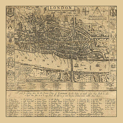 Photograph - Map Of London 1593b by Andrew Fare
