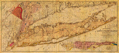 New York State Mixed Media - Map Of Long Island New York State In 1842 On Worn Distressed Canvas  by Design Turnpike