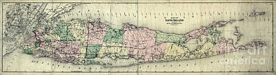 Map Of New York Photograph - Map Of Longisland 1873 by Jon Neidert