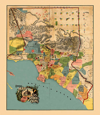 Photograph - Map Of Los Angeles 1888 by Andrew Fare