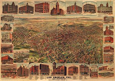Drawing - Map Of Los Angeles 1891 by Mountain Dreams