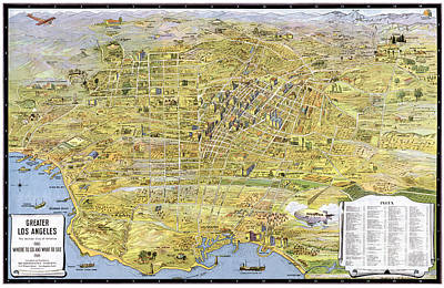 Old Map Painting - Map Of Los Angeles - California - 1932 by Pablo Romero