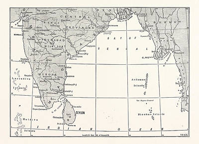 Bay Area Drawing - Map Of Lower India And Sri Lanka by English School