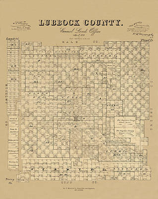 Photograph - Map Of Lubbock 1892 by Andrew Fare