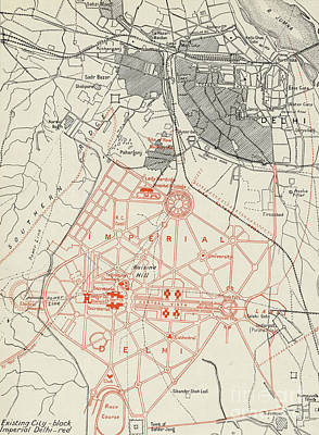 Drawing - Map Of Lutyens Projected Imperial Delhi by English School