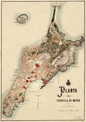 Photograph - Map Of Macau 1899 by Andrew Fare
