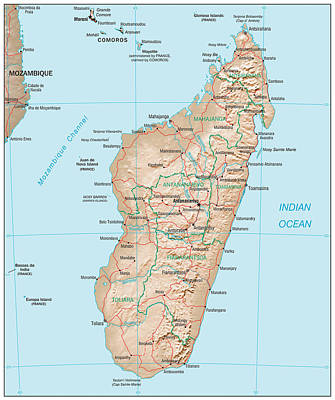 Continent Mixed Media - Map Of Madagascar by Roy Pedersen