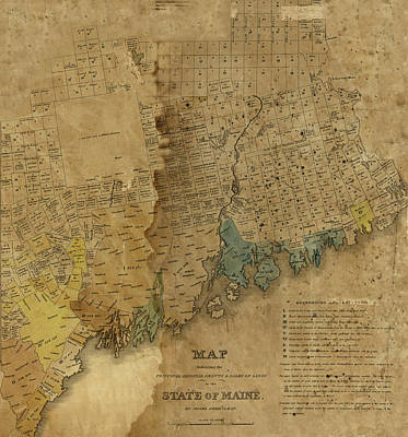 Photograph - Map Of Maine 1820b by Andrew Fare