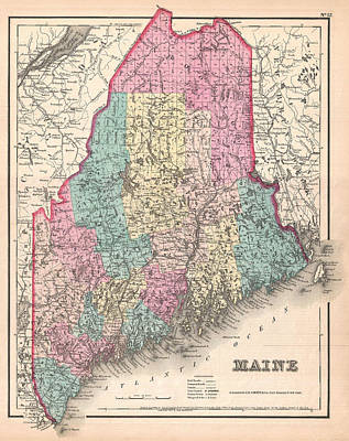 Drawing - Map Of Maine by Joseph Hutchins Colton