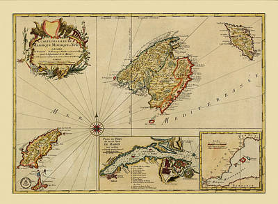 Photograph - Map Of Majorca 1756 by Andrew Fare
