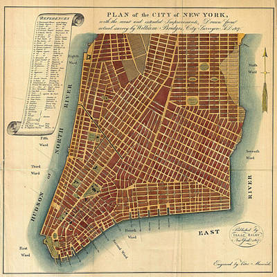 Photograph - Map Of Manhattan 1807 by Andrew Fare