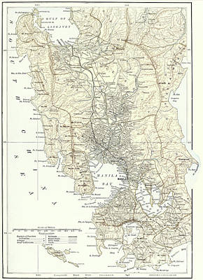 Philippines Drawing -  Map Of Manila, Philippines And The Seat Of War During The Spanish-american War Of 1898 by English School