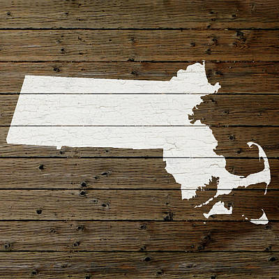 Map Of Massachusetts State Outline White Distressed Paint On Reclaimed Wood Planks Art Print